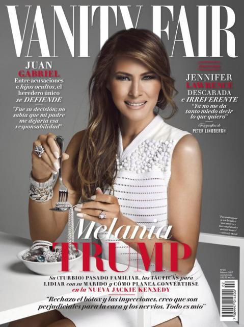 Melania Trump, eating diamonds, on the cover of Vanity Fair (Mexico)