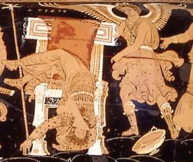 Poena/Poine: Atreus, king of Mycenae, sprawls mortally wounded on his throne. [...] To the right of the throne [...] P