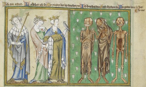 Three Living and Three Dead: Detail of a miniature of the Three Living and the Three Dead, from the De Lisle Psalter, England (East Anglia), c. 1308 – c. 1340, Arundel MS 83, f. 127v