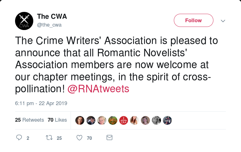 "Tweet from the Crime Writers' Association saying they're ""pleased to announce that all Romantic Novelists' Association members are now welcome at our chapter meetings, in the spirit of cross-pollination!"" (22 April 2019)"